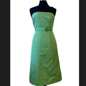 Green J. Crew Silk Bow Cocktail Dress 12